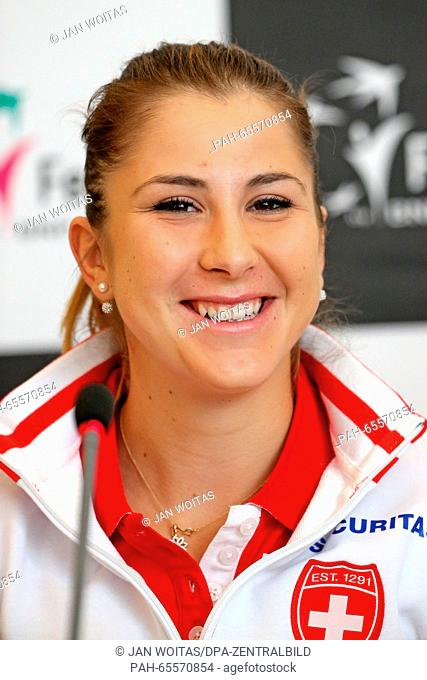 Swiss tennis player Belinda Bencic attends a press conference ahead of the Fed Cup quarter finals match between Germany and Switzerland in Leipzig,Germany