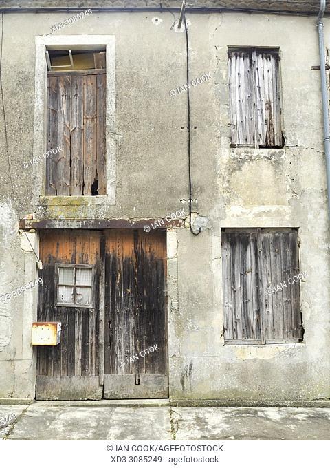 front of derilict building, Escassefort, Lot-et-Garonne Department, Aquitaine, France