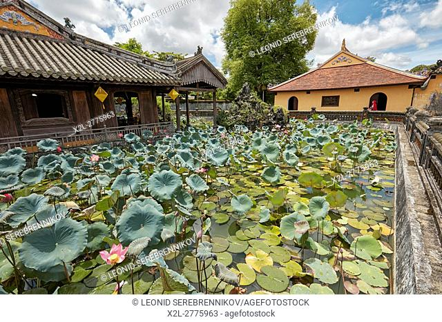 Lotus Lake at the Truong Du Pavilion. Dien Tho Residence, Imperial City, Hue, Vietnam