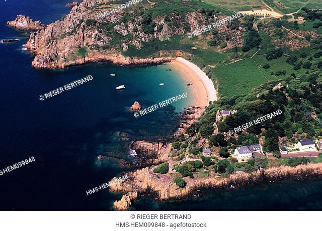 United Kingdom, Channel Islands, Jersey island, the preserved bay of Beauport (aerial view)