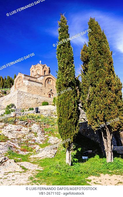 Church of St. John at Kaneo by the Ohrid lake, in the UNESCO listed town of Ohrid, Macedonia