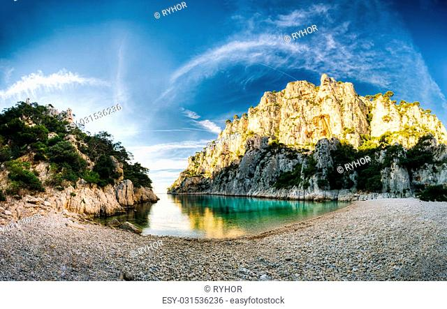 Panorama of beautiful nature of Calanques on the azure coast of France. Coast En Vau near in South France