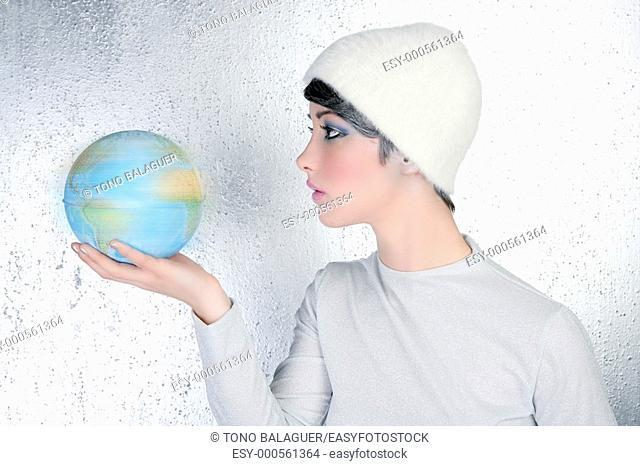 fashion modern silver woman holding global map winter hat