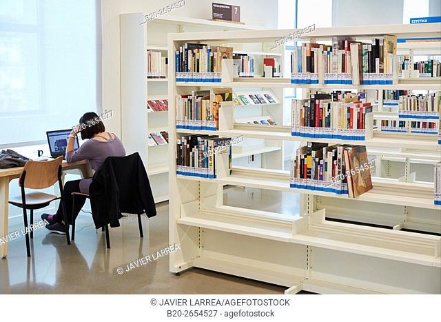 Tabakalera's creation library. Tabakalera. Contemporary culture center. Donostia. San Sebastian. Gipuzkoa . Basque Country. Spain. Europe