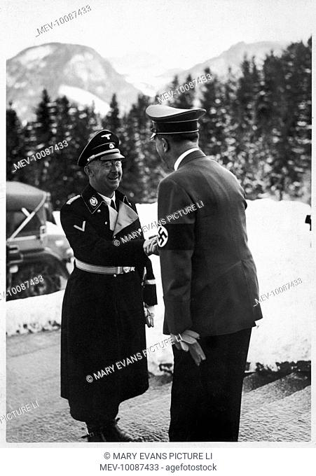 The Fuhrer congratulates the Reichfuhrer of the SS and German police, Himmler, on ten years of law and order at Berghof