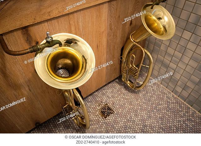 Gents urinals in Hindenburg Hut. Reit im Winkl. Upper Bavaria. Germany