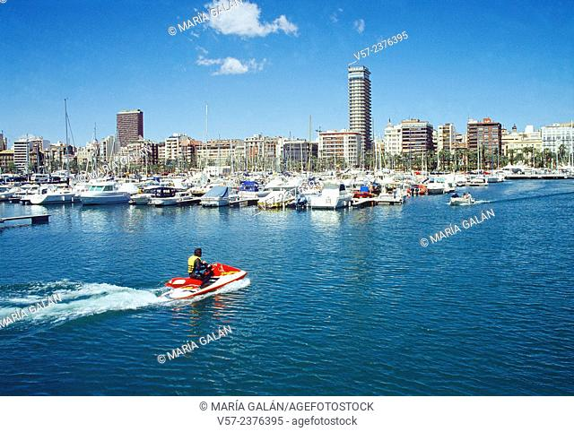 Overview from the harbour. Alicante, Spain