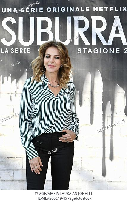 Claudia Gerini during photocall of the second season of Italian fiction 'Suburra', Rome 20-02-2019