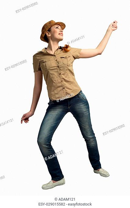 Surprised teenager girl in shots shirt and hat on white background