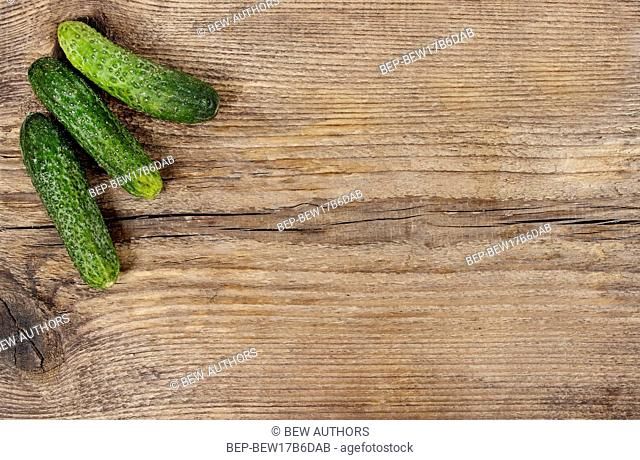 Fresh cucumber on wooden background. Rough surface, copy space