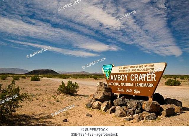 Entrance sign for Amboy Crater, California, USA