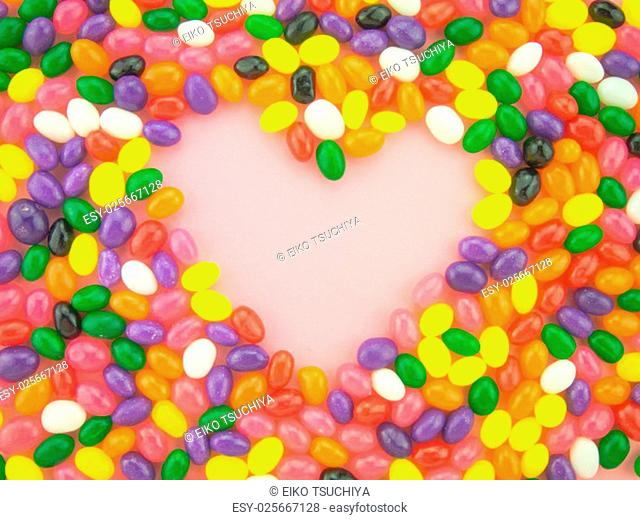 Frame and background made of colorful jelly beans