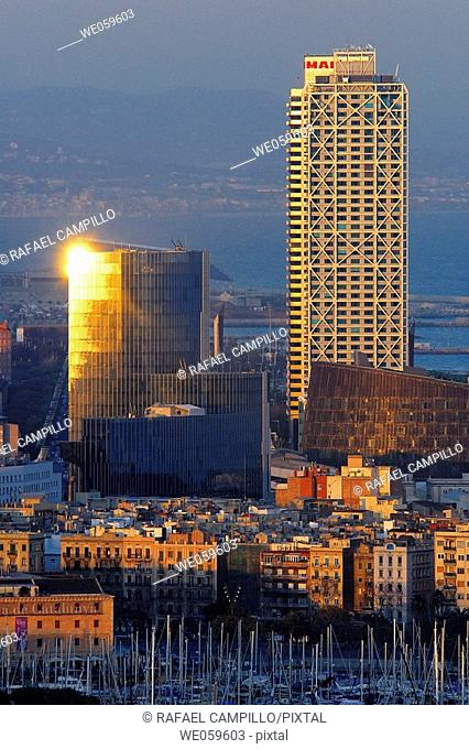 Mapfre Tower, Arts Hotel and Biomedical Research and Gas Natural building. Barcelona. Catalonia. Spain