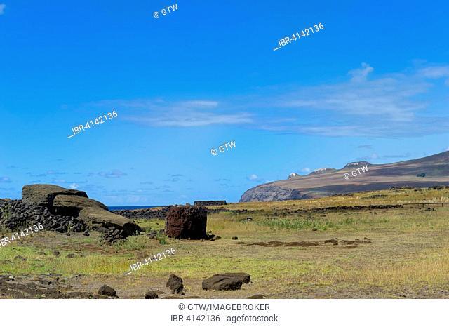 Moai Paro, the biggest Moai erected on the island, Te Pito Kura, Unesco World Heritage, Rapa Nui National Park, Easter Island, Chile
