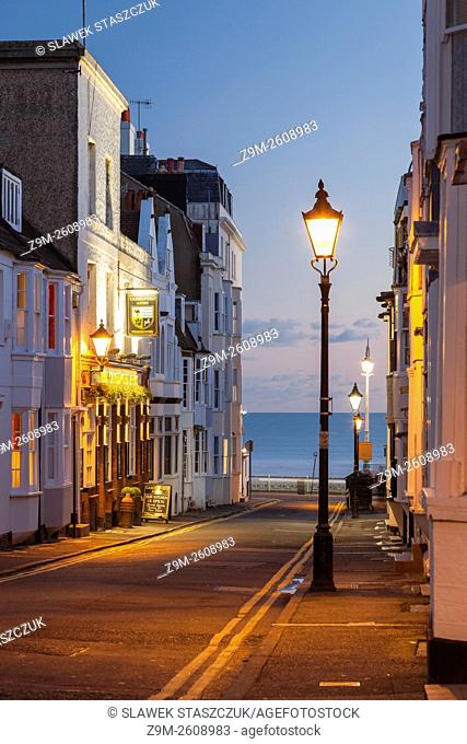 Dusk on Camelford Street, Brighton, East Sussex, England
