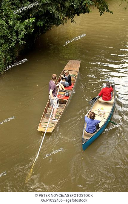 Punt and canoe at Magdalen Bridge Oxford