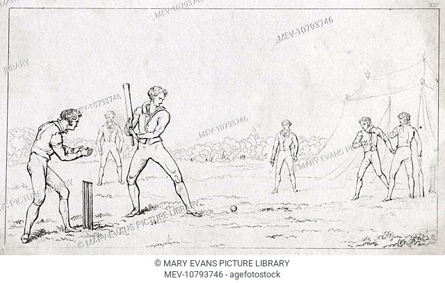 A cricket match in the early 19th century