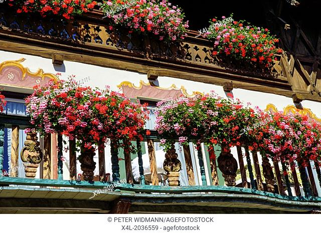 Germany, Bavaria, Upper Bavaria, Werdenfels, Garmisch-Partenkirchen, District Garmisch, old House, Balcony Flowers