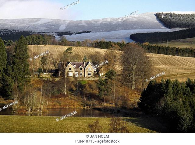 House, fields and hills in Tarland, Aberdeenshire