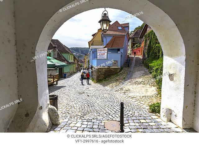 Door of the Medieval Citadel in Sighisoara village, Mures district, Transylvania, Romania