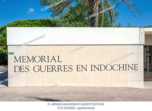 Entrance area of the necropolis Memorial of war in Indochina, Frejus, Var, Provence-Alpes-Cote d`Azur, France, Europe
