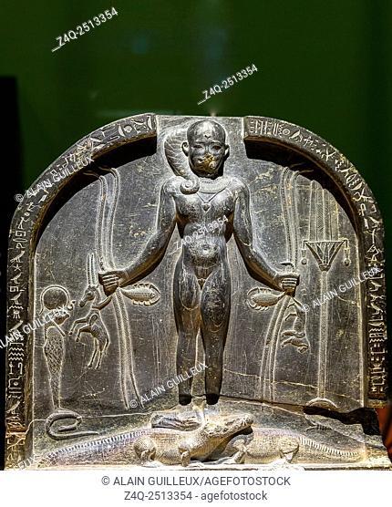 "Photo taken during the opening visit of the exhibition """"Osiris, Egypt's Sunken Mysteries"""". Egypt, Cairo, Egyptian Museum, upper part of an Horus stela"