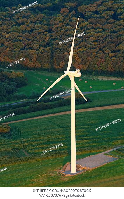 France, Moselle (57), Bousbach, wind turbine of La Sechilienne Sidec (aerial view)
