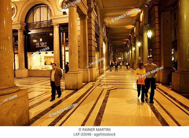 People at a shopping arcade at night, Galleria Saubada, Via Roma, Torino, Piedmont, Italy, Europe