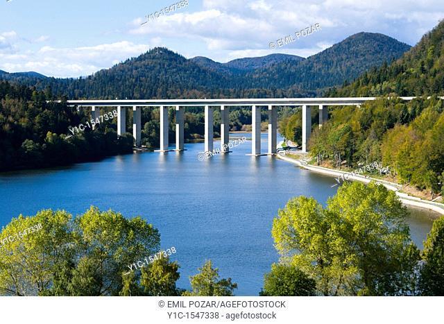 Highway viaduct over Bajer lake near Fuzine in Croatia