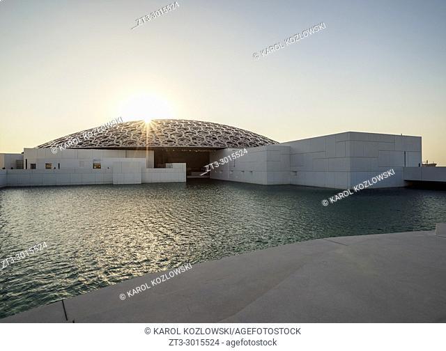 Louvre Museum at sunset, Abu Dhabi, United Arab Emirates