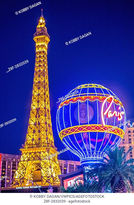 The Paris Las Vegas hotel and casino in Las Vegas. The hotel includes a half scale, 541-foot (165 m) tall replica of the Eiffel Tower