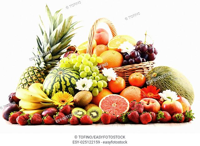 Composition with assorted fruits. Balanced diet