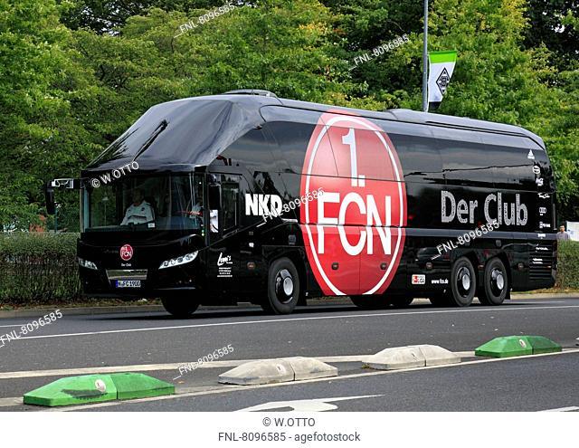 Team bus of 1. FC Nuernberg, Stadium Borussia Park, Borussia Moenchengladbach gegen 1 FC Nürnberg 2:3, 1. Bundesliga 2012/2013, Moenchengladbach