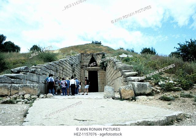 Entrance of a tumulus at Mycenae, late Bronze Age, Greece, c1450-c1100 BC. Mycenae was a prehistoric Greek city discovered by the German archaeologist Heinrich...