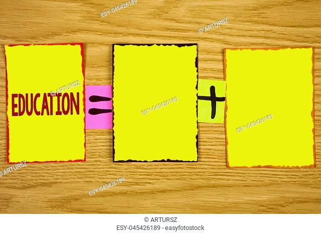 Handwriting text writing Education. Concept meaning Teaching of students by implementation of latest technology written Sticky Note Paper wooden background