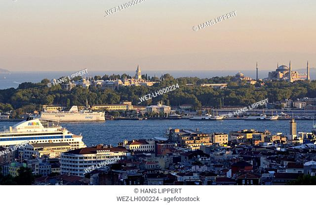 Turkey, Istanbul, View of Golden Horn with Hagia Sophia and Topkapi palace