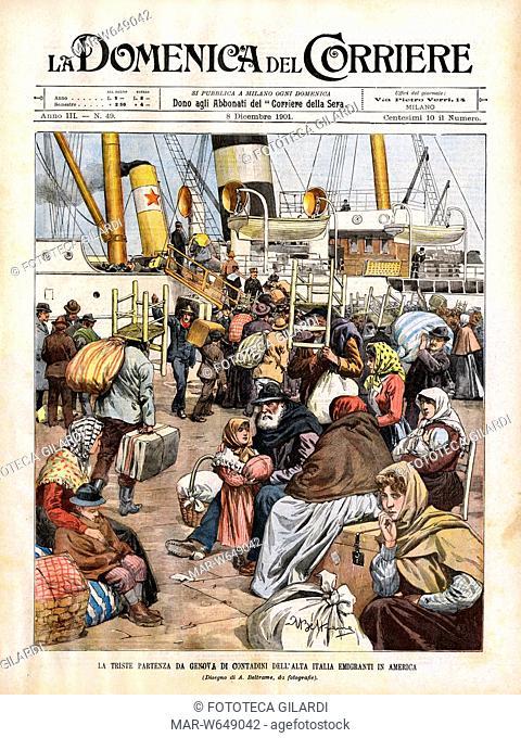 EMIGRAZIONE Italia/Usa. Emigranti in attesa di partire affollano la banchina del porto di Genova - disegno di Achille Beltrame