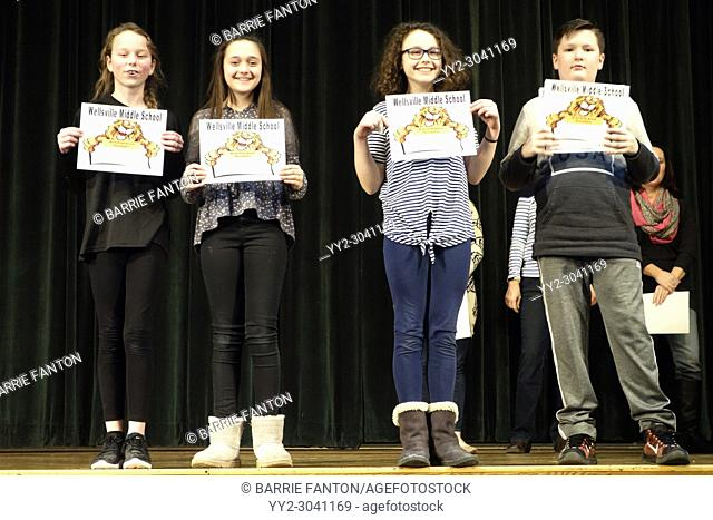 6th Grade Students Receiving Achievement Awards, Wellsville, New York, USA