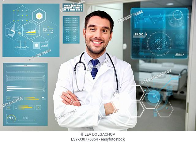 people, healthcare and medicine concept - smiling doctor with stethoscope at hospital corridor