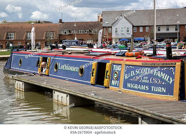Barge in River Avon and Canal Basin; Stratford Upon Avon; England