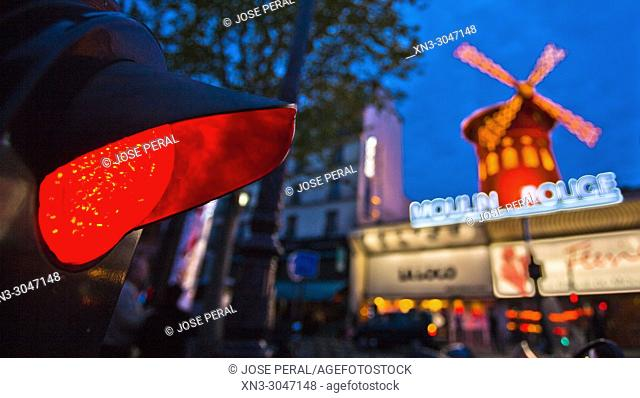 Traffic light in red, Moulin Rouge cabaret, Boulevard de Clichy in the 18th arrondissement, Paris, France, Europe