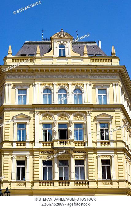 Typical Exterior Facade in Prague, Czechia