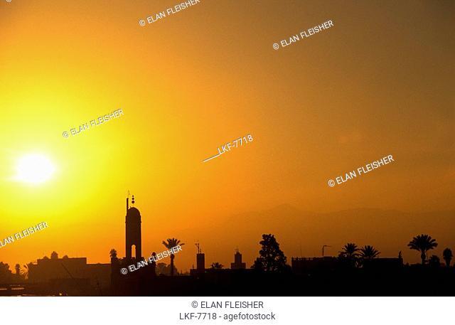 Jemaa El Fna at sunrise, Djemaa el Fna, square and market place in the Marrakesh medina quarter, Marrakesh Morocco