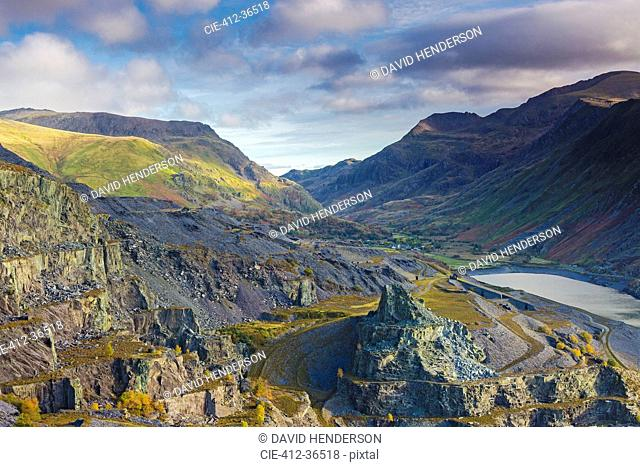 Craggy view, Llanberis Pass from Dinorwic, Snowdonia Wales