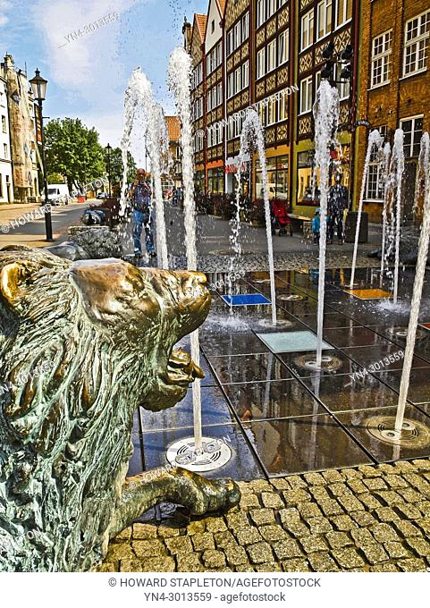 Four Corners Fountain, Gdansk, Poland. Also known as the Lion fountain located where four neighborhoods came together. The lion is considerd the protectors of...