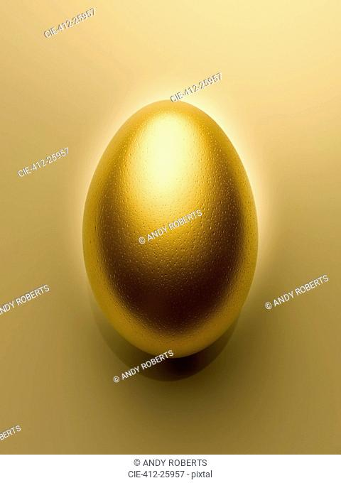 Overhead view of golden egg on gold background still life