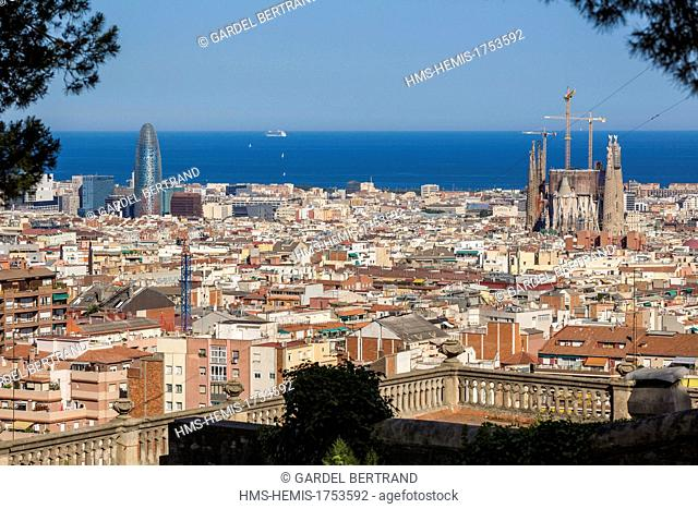 Spain, Catalonia, Barcelona, Sagrada Familia, Antoni Gaudi architect listed as World Heritage by UNESCO and the Agbar Tower by architect Jean Nouvel