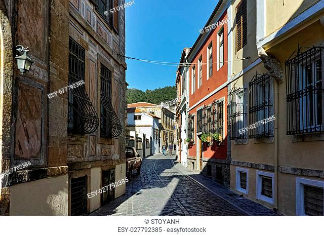 street with old houses in Xanthi, East Macedonia and Thrace, Greece