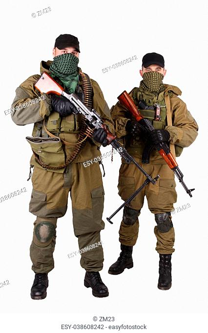 insurgents with AK 47 and RPD machine gun isolated on white background