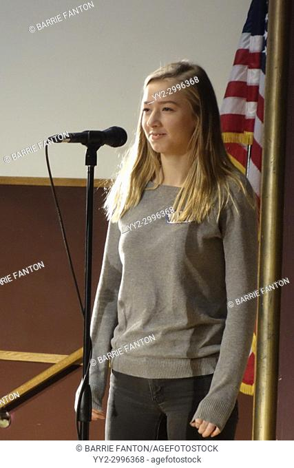 8th Grade Girl Competing in Middle School Spelling Bee, Wellsville, New York, USA